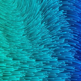 Blaue illustration mit linien. türkis, kobalt, marine-geschwindigkeitslinie oder abstrakter windbewegungshintergrund. glühende glänzende energiewellen auf dunkelblauem hintergrund, digitales halbtonmuster