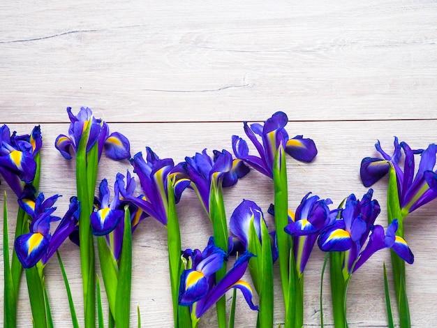 Blaue iris auf einem hölzernen hintergrund, als unterlage, hintergrund, muster, blumen