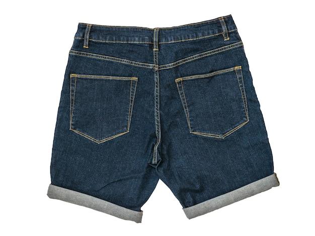Blaue jeansshorts isoliert auf einem weißen