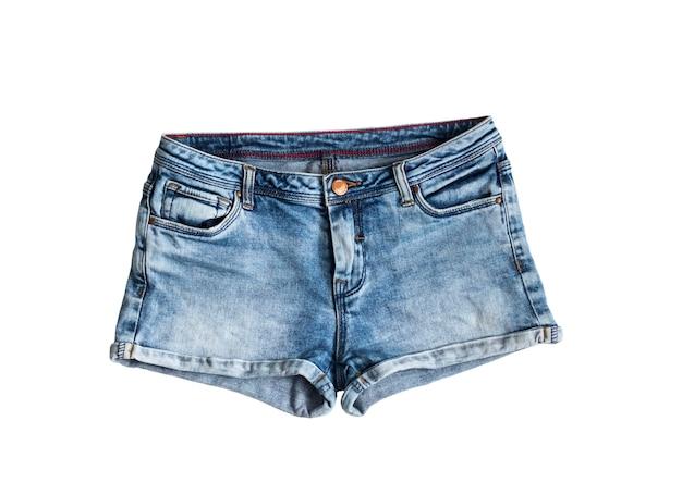 Blaue jeansshorts isoliert auf weißem hintergrund white