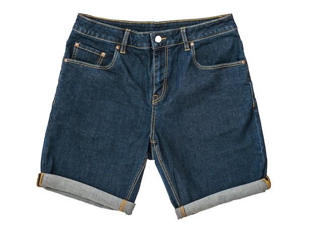 Blaue jeansshorts mit button-down isoliert