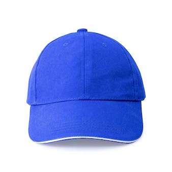 Blaue kappe lokalisiert auf weißem hintergrund.