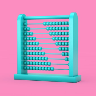 Blaue kinderspielzeug-gehirnentwicklungs-abakus im duotone-stil auf rosa hintergrund. 3d-rendering