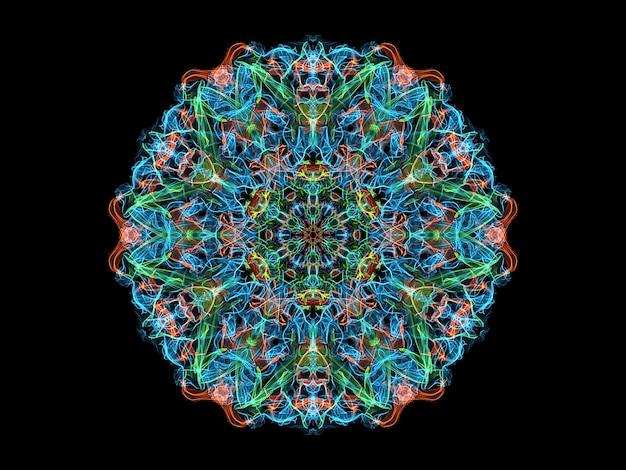 Blaue, korallenrote und grüne abstrakte flammenmandalablume, dekoratives rundes mit blumenneonmuster
