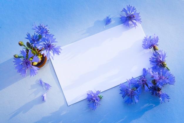 Blaue kornblume auf der leeren grußkarte für glückwünsche.