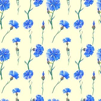 Blaue kornblumen auf beigem hintergrund