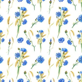 Blaue kornblumen, weizen. wasserfarbenes nahtloses blumenmuster. aquarellillustration mit blume