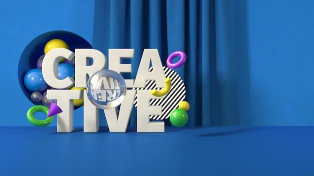 Blaue kreative fahnenschablone, 3d übertragen