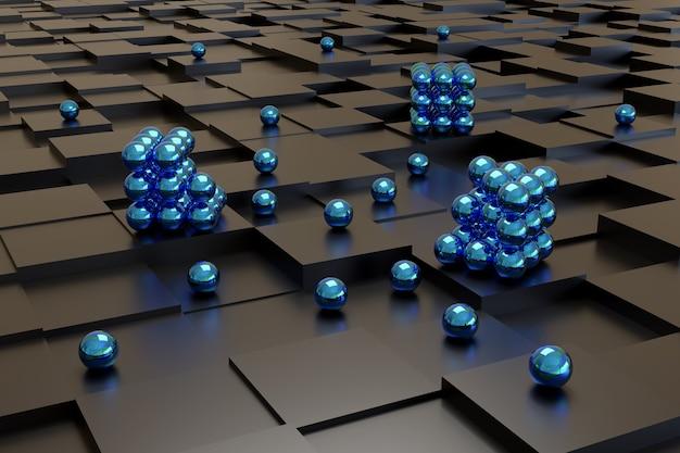 Blaue kugeln auf schwarzen würfeln. abstraktes design.