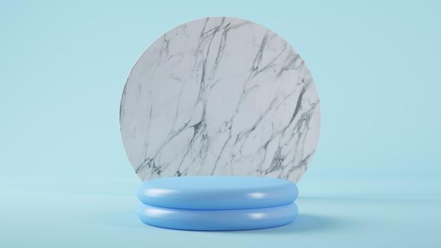 Blaue kunststoffplattform für die produktpräsentation