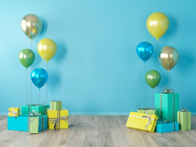 Blaue leere wand, buntes interieur mit geschenken, geschenken, luftballons für party, geburtstag, ereignisse. 3d-renderillustration, modell.