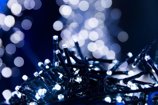 Blaue lichter bokeh textur. weihnachtslichter verwaschen