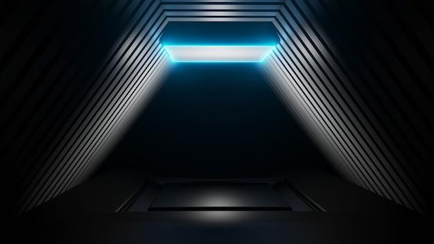 Blaue lichter des abstrakten hintergrundbildes des 3d-plattform-renderings des schwarzen raumes