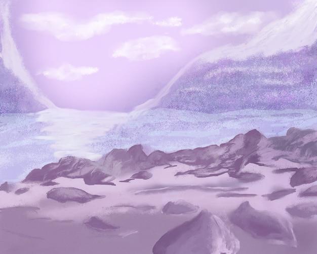 Blaue lila landschaft mit bergen und einem fluss