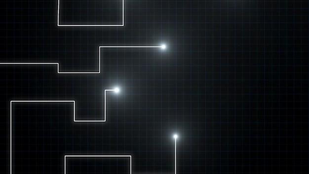 Blaue linien durch helle flecken gezeichnet. es kann elektronische verbindungen, kommunikation, futuristische technologie darstellen.