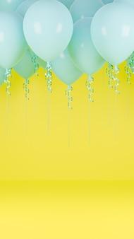 Blaue luftballons, die im gelben pastellhintergrund schweben. geburtstagsfeier und neujahrskonzept