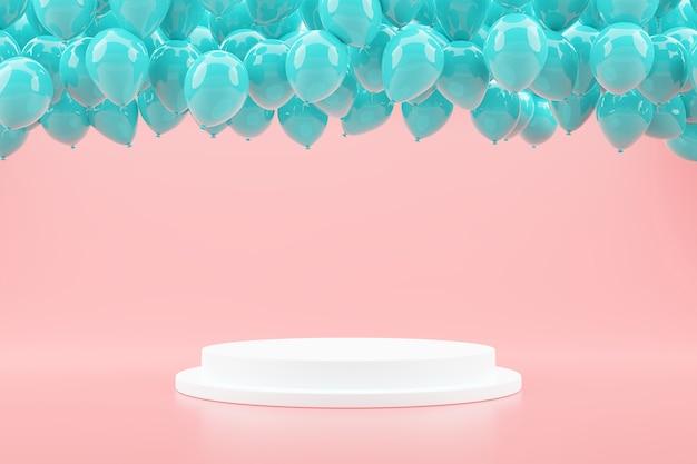 Blaue luftballons schweben mit podiumsdisplay zur produktpräsentation auf rosa pastellhintergrund