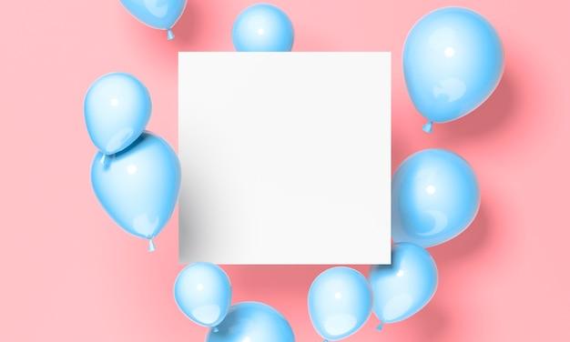 Blaue luftballons und papieranordnung