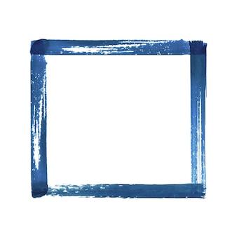Blaue marine aquarell grunge-rahmen. handgezeichnete aquarell vintage abstrakte blaue strukturierte pinselstriche rahmen isoliert auf weißem hintergrund