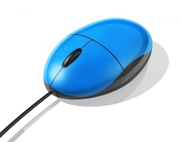 Blaue maus des computers 3d getrennt auf weiß