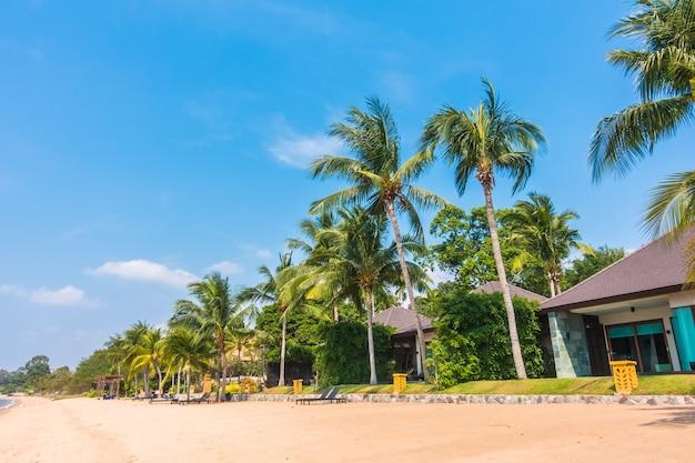 Blaue meer kokospalmen himmel