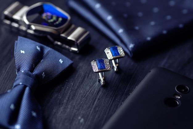 Blaue mode herren manschettenknöpfe zubehör für smoking schmetterling krawatte taschentuch stil uhr