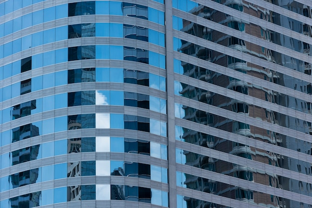Blaue moderne bürogebäudenahaufnahme