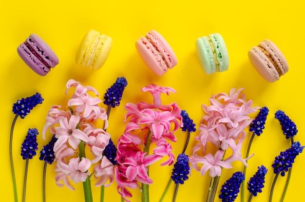 Blaue muscariblumen, rosa hyazinthe und macarons oder makronen auf gelbem hintergrund. overhead erschossen. flach liegen. feier-konzept.