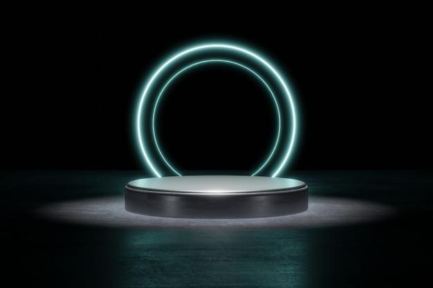 Blaue neonlicht-produkthintergrundbühne oder podest auf grunge-straßenboden mit leuchtpunkt