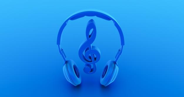 Blaue noten mit kopfhörer in der mitte, konzeptmusik