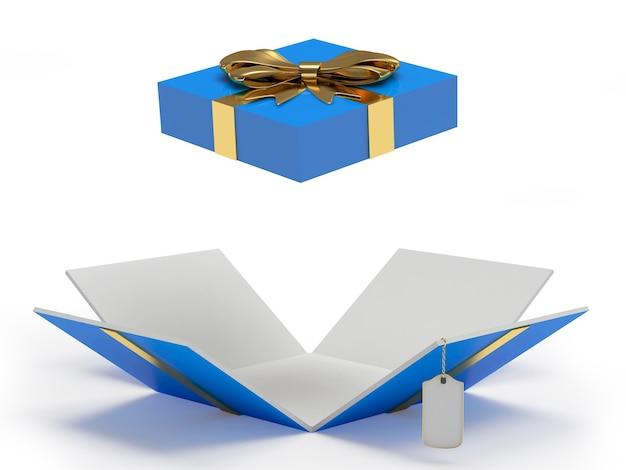 Blaue offene geschenkbox mit leerem etikett
