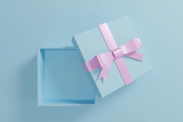 Blaue offene geschenkbox rosa bogenband bunte valentinstagliebhaber