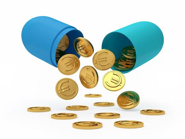 Blaue offene medizinische kapsel mit fallenden euro-münzen