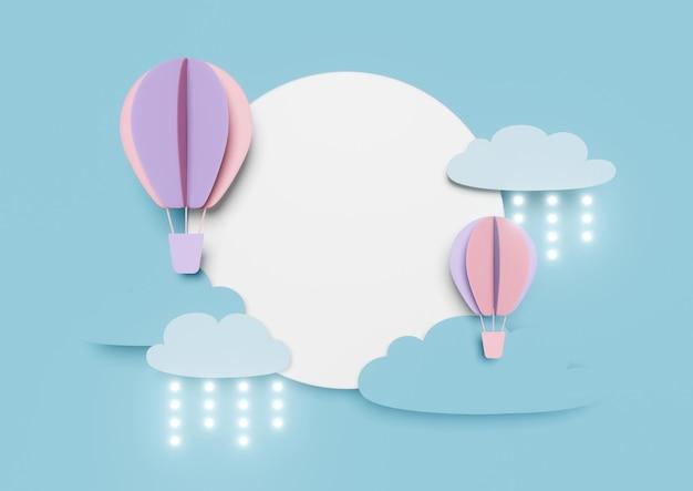 Blaue papierkunst 3d des ballons, der auf luftwolkenhimmelszene fliegt.