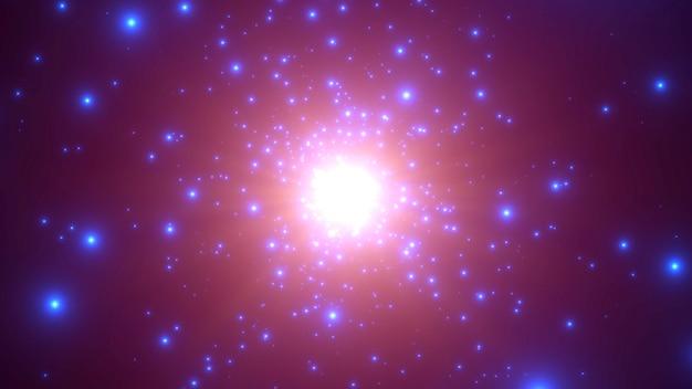 Blaue partikel und sterne der bewegung in der galaxie, abstrakter hintergrund. eleganter und luxuriöser 3d-illustrationsstil für kosmos- und urlaubsvorlagen
