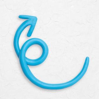 Blaue pfeil-ton-textur, die nach oben zeigt, handarbeitsgrafik für kinder
