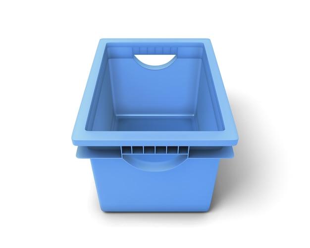 Blaue plastikbox für spielzeug lokalisiert auf weiß. 3d-illustration.