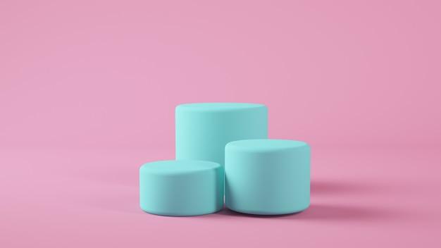 Blaue plattform auf rosa hintergrund