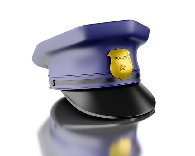 Blaue polizistkappe des polizisten 3d auf weißem hintergrund.