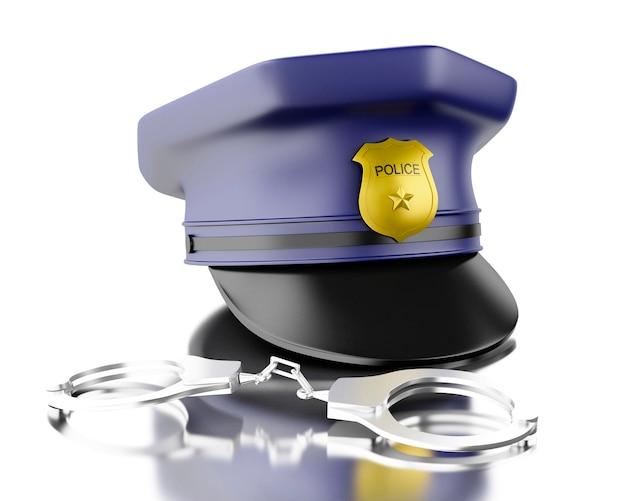 Blaue polizistkappe des polizisten 3d mit handschellen.