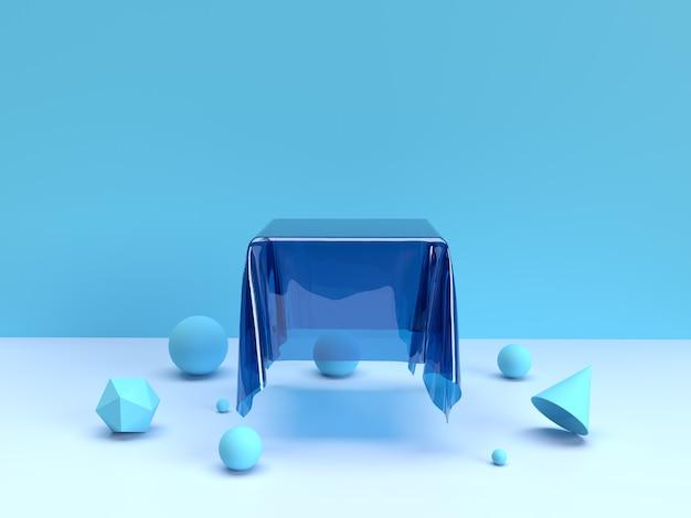 Blaue produktplatzierung transparente tischdecke geometrische formen premium-foto