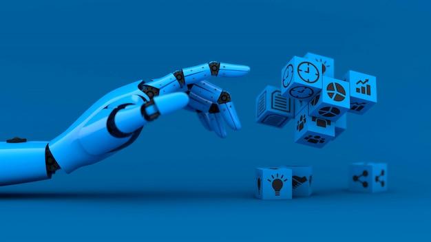 Blaue roboterhand verwalten geschäftswürfel