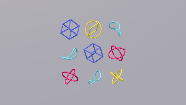 Blaue, rosa und gelbe formen. abstrakte illustration, 3d rendern.