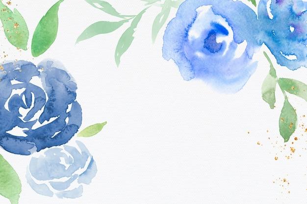 Blaue rosenrahmenhintergrundwinter-aquarellillustration