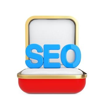 Blaue seo-zeichen-buchstaben in der roten geschenkbox auf weißem hintergrund. 3d-rendering