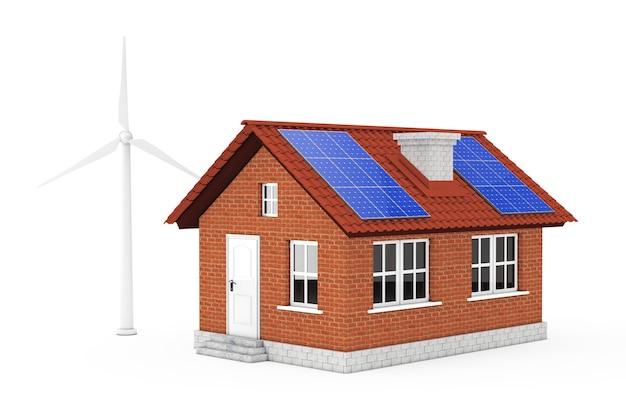 Blaue sonnenkollektoren und windmühle mit home building auf weißem hintergrund. 3d-rendering.