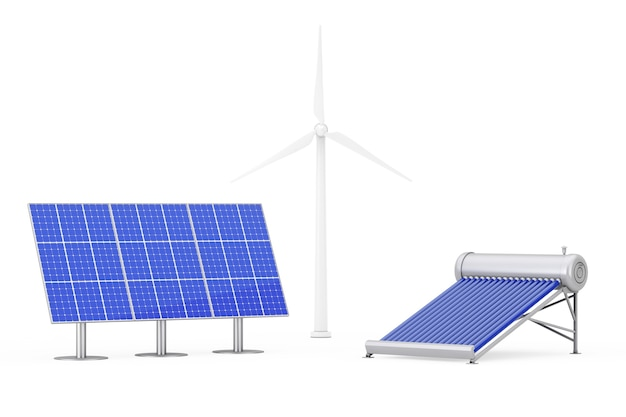 Blaue sonnenkollektoren, windmühlen und warmwasserbereiter-panel auf weißem hintergrund. 3d-rendering.