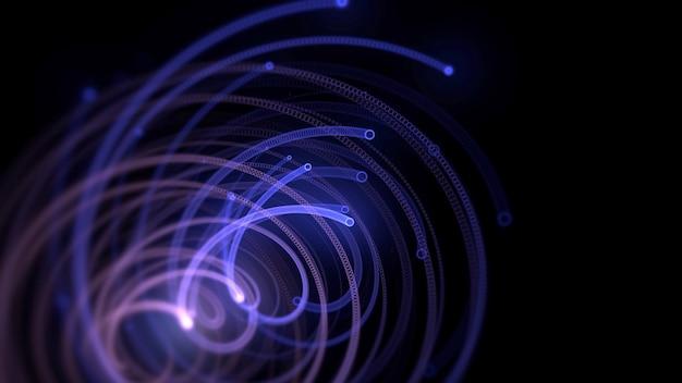 Blaue spirallinien der bewegung, abstrakter hintergrund. eleganter dynamischer neon-stil, 3d-illustration