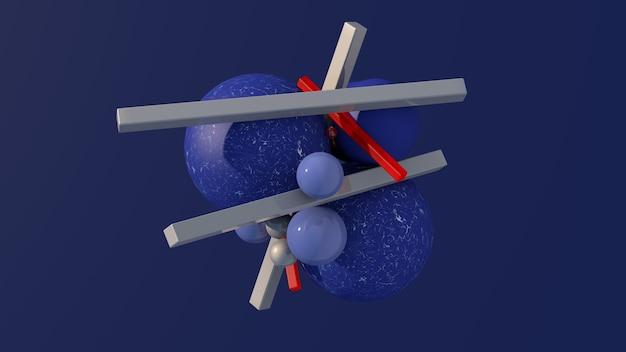 Blaue strukturierte und glänzende kugeln graue und rote glasblöcke