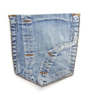 Blaue taschenbeschaffenheit der jeans auf weißem hintergrund